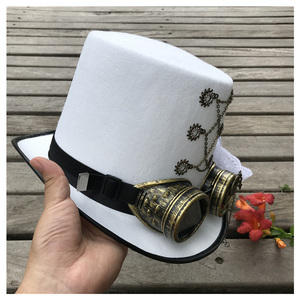 Image 2 - Women White Handmade Steampunk Top Hat With Gear Glasses and Lace Stage Magic Hat Performance Hat Size 57CM Steampunk Hat
