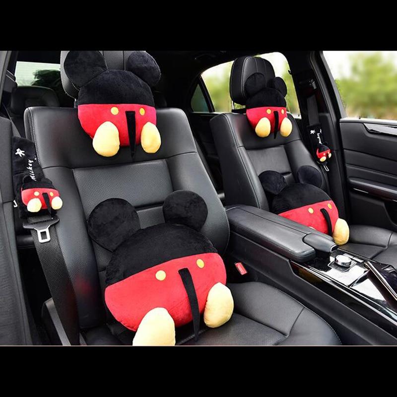 Cartoon Cute Car Seat Neck Pillow Set Mickey Minnie Headrest Cover Waist Support Lumbar Seatbelt Covers Gilrs Accessories