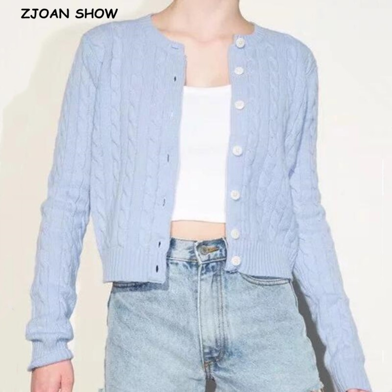 2020 Retro Women Knit Twist Striped Single-breasted Buttons Cardigan French Exposed Navel Short Knitwear Long Sleeve Jumper Tops