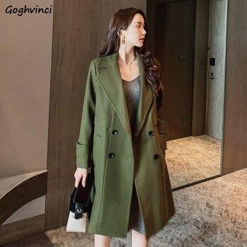 Women Coats Solid Double Breasted Ladies Korean Coat Womens Winter Clothing Females Elegant Warm Hot Sale Casual Regular Wool фото