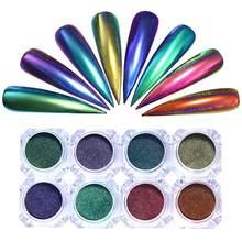 Camaleão prego brilho poeira espelho efeito arte do prego pavão cromo pigmento do prego em pó decorações da arte do prego