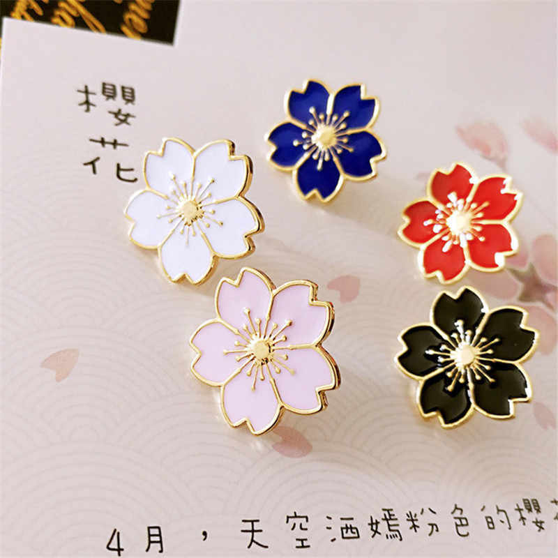 SexeMara new 2019 sweet cherry blossom brooch Drip flower collar pin badges Clothing bags accessories Female accessories