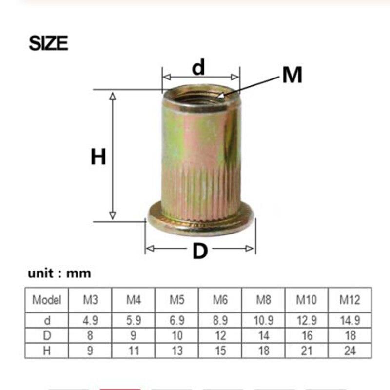 Rivet Nut Threaded Flat-Head Knurled M6 M5 M4 M3 M8 M10 M12 100pcs Carbon-Steel Zinc-Plated