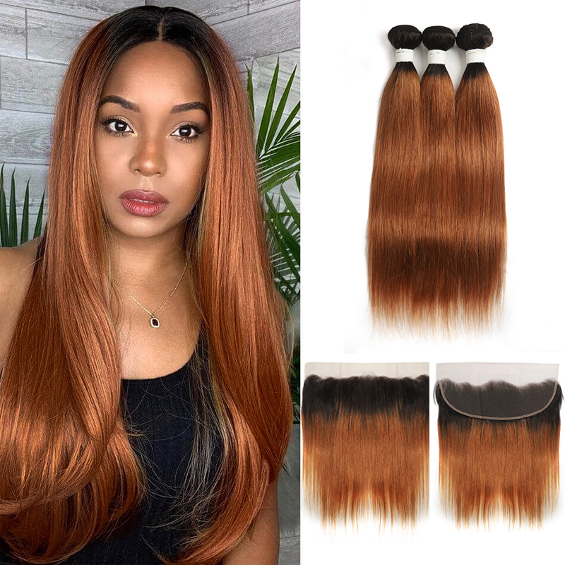 T1B/30 Ombre Brown Bundles With Frontal 13x4 SOKU Brazilian Straight 3 Bundles With Closure Non-Remy Human Hair Extension