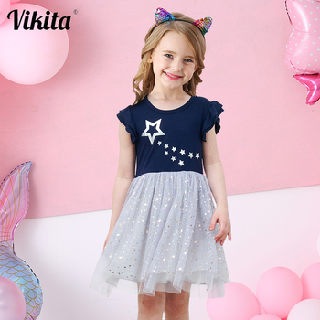 VIKITA Girls Princess Dress Kids Unicorn Dresses for Girls Children Sequins Dresses Toddlers Tutu Dress Girl Summer Vestidos vikita girls unicorn dress princess tutu dress for girls children birthday party licorne vestidos kids autumn winter dresses