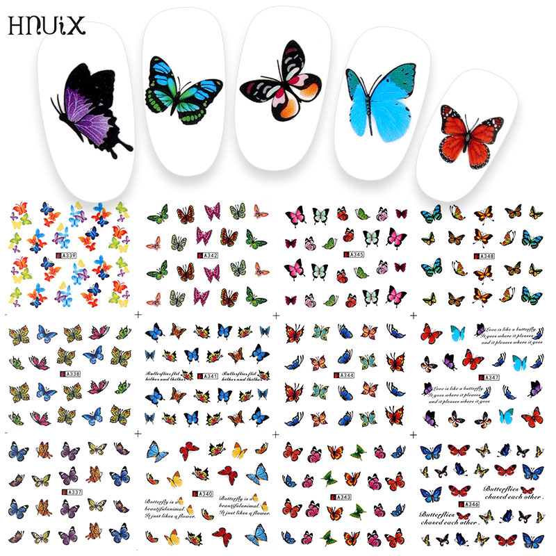 12 PC Watermark Slider Nail Stickers Nail Art Decal Water Transfer Flower Butterfly Decoration Manicure Watermark Leaf Tips