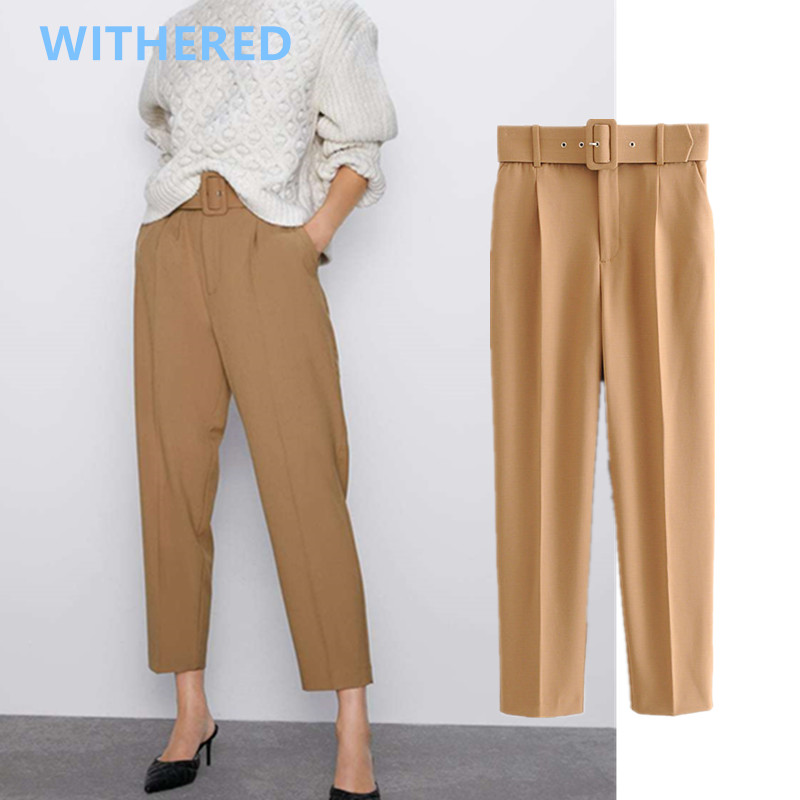 Withered England Style Simple Multicolor Sashes High Waist Regular Pants Women Pantalones Mujer Pantalon Femme Trousers Women