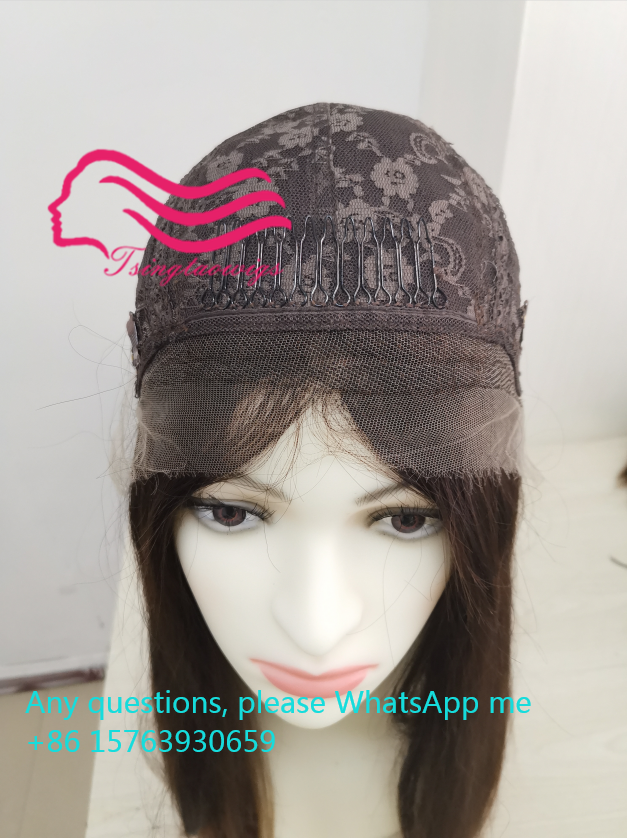 Jedwabny Top z koronką od ucha do ucha z przodu 2CM. Custom made naturalne włosy europejskiej Sheitel koszerna peruka najlepsze Sheitels darmowa wysyłka