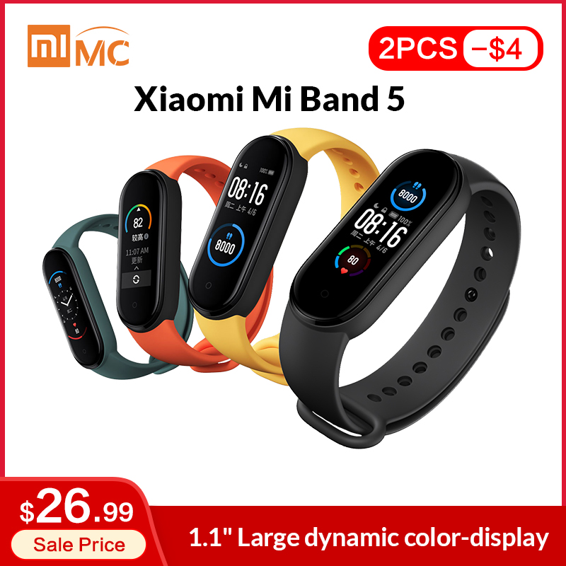 "In Stock Xiaomi Mi Band 5 Smart Bracelet 1.1"" AMOLED Colorful Screen Heart Rate Fitness Tracker Bluetooth 5.0 Waterproof Miband5(China)"