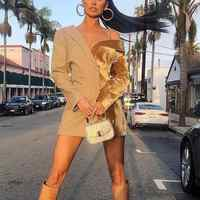 Aartiee manches longues élégant col irrégulier robe Sexy femmes 2019 automne hiver fête club Blazer femme robe rayé vestidos