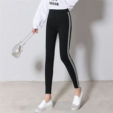 Women Slim Casual Pants Side Silver Stripes Trousers Autumn Winter Velvet Leggings NS