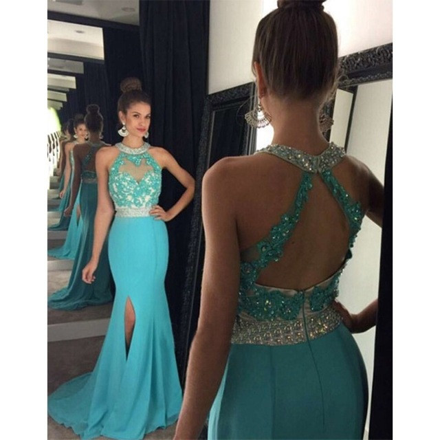 Halter Blue Mermaid Prom Dresses Long 2019 New Applique Beads Side Slit Chiffon Formal Women Evening Dresses