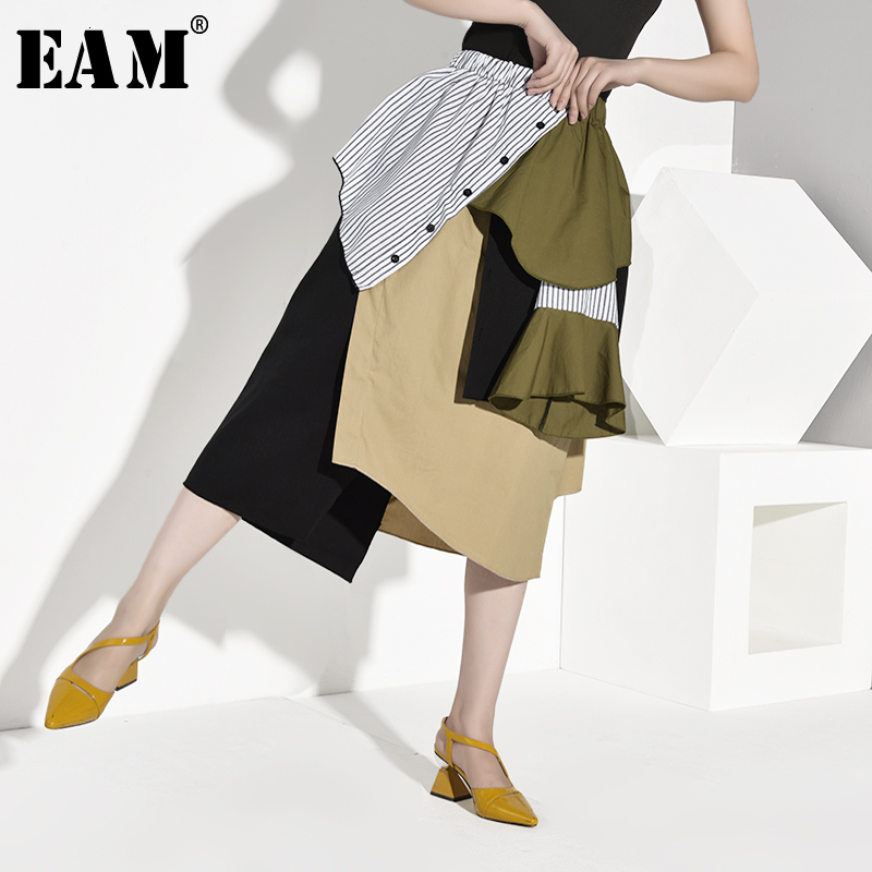 [EAM] High Elastic Waist Striped Hit Color Asymmetric Striped Half-body Skirt Women Fashion Tide New Spring Autumn 2020 1A888