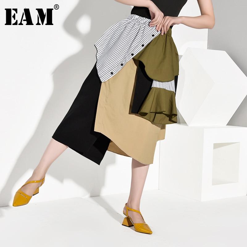 [EAM] High Elastic Waist Striped Hit Color Asymmetric Striped Half-body Skirt Women Fashion Tide New Spring Autumn 2019 1A888