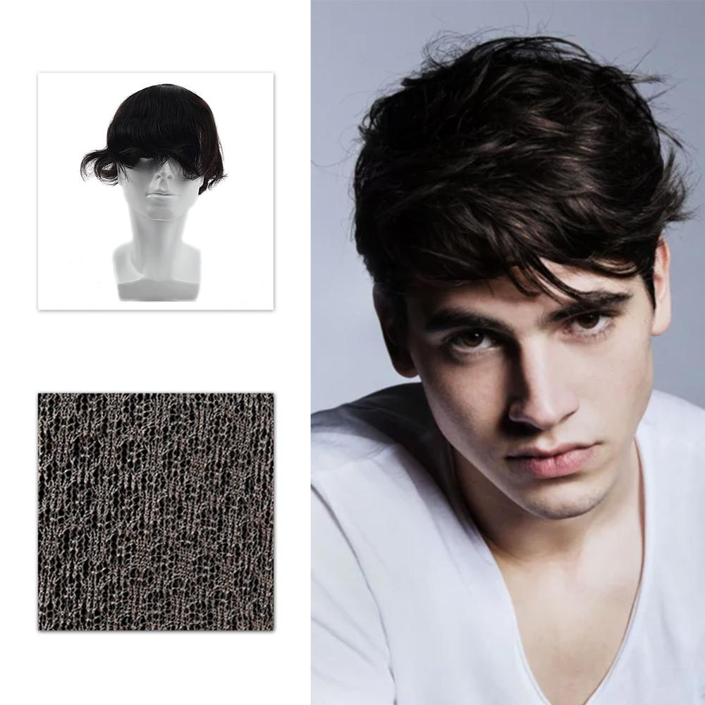 MW Hair Topper Wig For Men 6 Inches High Simulation Scalp Natural Black Toupee Hair Piece 3 Layers Lace Invisible Fast Shipping