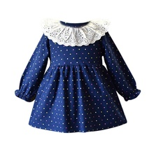Autumn Dress For Girls Clothing Baby Girl Lace Sundress Dot Print Long Sleeve Princess Dresses Toddler Kids Casual Clothes 6M-5T