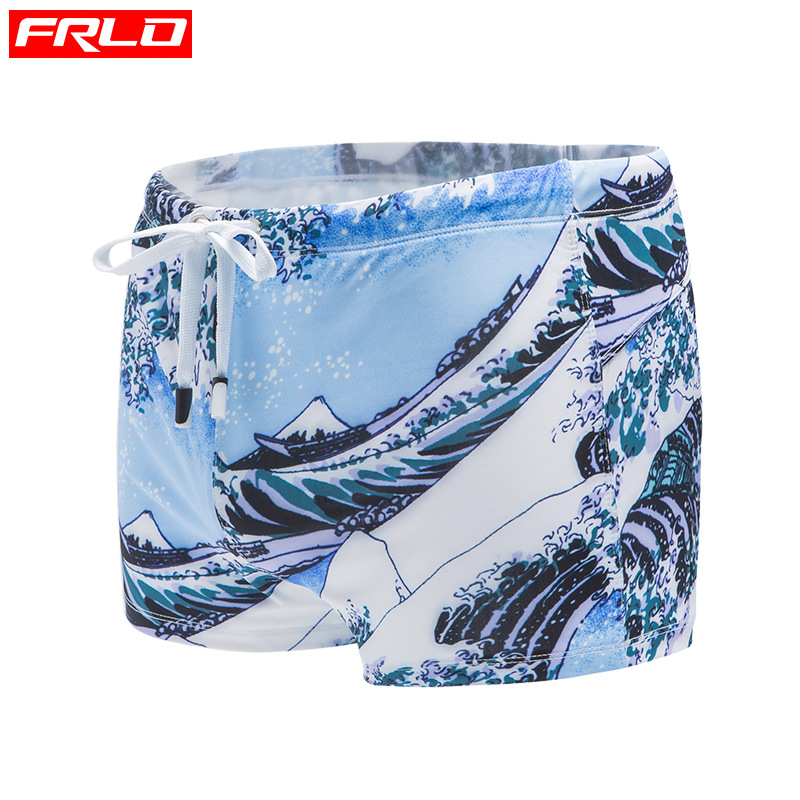 Frlo Swimming Trunks Men's Anti-Awkward Cup Loose Elasticity Boxer Printed Large Size Seaside Holiday