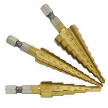 3-12 3-13 4-12 4-20 4-22 4-32mm HSS wiertło stopniowe tytanowe do obróbki drewna wiercenie metali Bit wiertniczy do otworów wiertło stożkowe stopniowe narzędzia tnące tanie tanio LISM Maszyny do obróbki drewna NONE Rdzeń wiertła diamentowe CN (pochodzenie) as the picture Wiercenia drewna step drill bit