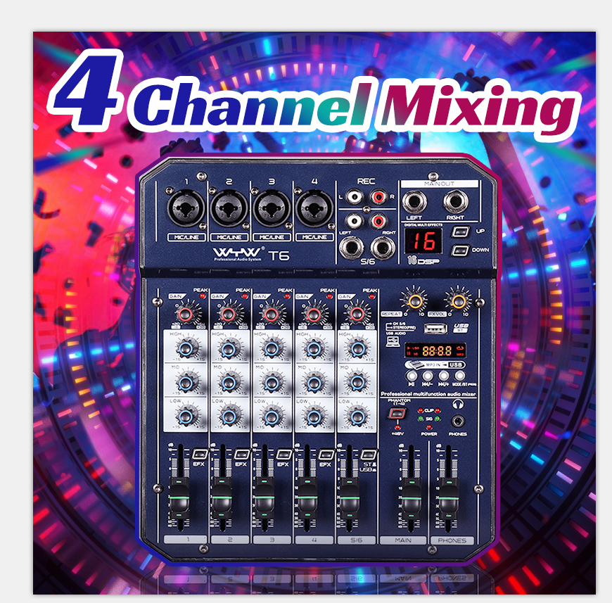 Mini 2CH 4 Channel Audio Sound Mixing bluetooth Mixer Console Sound Card Digital Live KTV Kalaok USB MP3 Player Stereo Recording