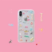 Glitter cover silicone mobile cute animal Zoo phone case for iphone xs max xr x 6 s 7 8 plus flower bee clear soft TPU back capa