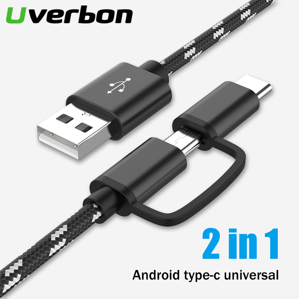 <font><b>2</b></font> in 1 USB Cable Type C Fast Phone Charging Cable For Samsung S8 S9 Micro USB Dual Charging USB C Charge Cable For Redmi note 7 image