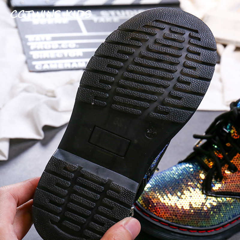 CCTWINS Çocuk Ayakkabı 2019 Sonbahar Moda Kız Pullu Martin Çizmeler Erkek Rahat Siyah Glitter Ayakkabı Çocuk Nefes Çizme MB005