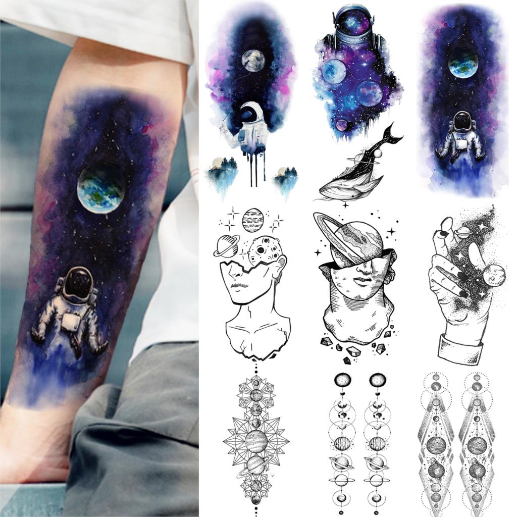 Blue Watercolor Galaxy Astronaut Temporary Tattoos Outer Space Man Body Art Fake Tattoos Stickers Forearm Planets Thinker Tatoos(China)