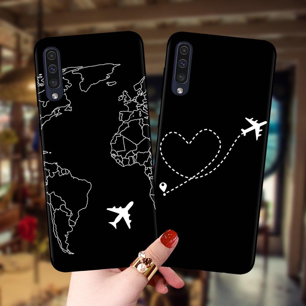 World Map Planes Travel Black Soft Case For Samsung Galaxy A10 A20 A30 A40 A50 A70 A51 A71 A6 A8 Plus A7 A9 2018 A750 Cover