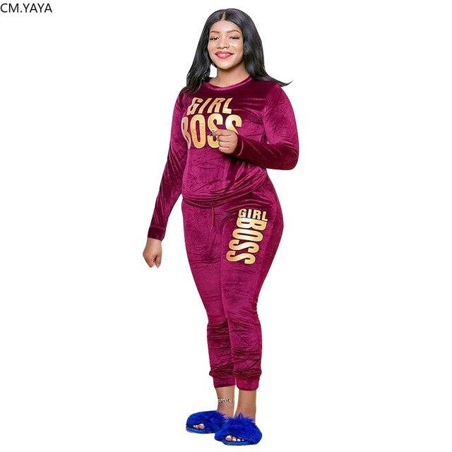 YAYA-Conjunto de chándal de terciopelo con letras estampadas para mujer, Conjunto de sudadera, Top, pantalones para correr, conjunto de dos piezas de Fitness de talla grande, XL-5XL CM 3