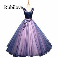 2020 Sexy Purple Dresses V Neck Appliques Beading Flower Lace Robe De Soiree Ball Gown Organza Bare Back Dress