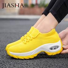 Damskie trampki 2020 nowe oddychające siatkowe damskie buty wygodne wsuwane poduszki powietrzne na co dzień damskie buty kobieta tenis feminino tanie tanio JIASHA Mesh (air mesh) Stałe Dla dorosłych NONE Wiosna jesień Mieszkanie (≤1cm) Lace-up Pasuje prawda na wymiar weź swój normalny rozmiar