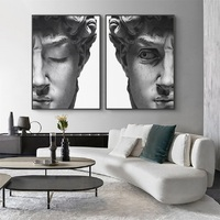 Póster en lienzo con grabado de la cabeza de David, impresiones para cuadro de decoración para el hogar y la sala de estar, color negro nórdico y blanco