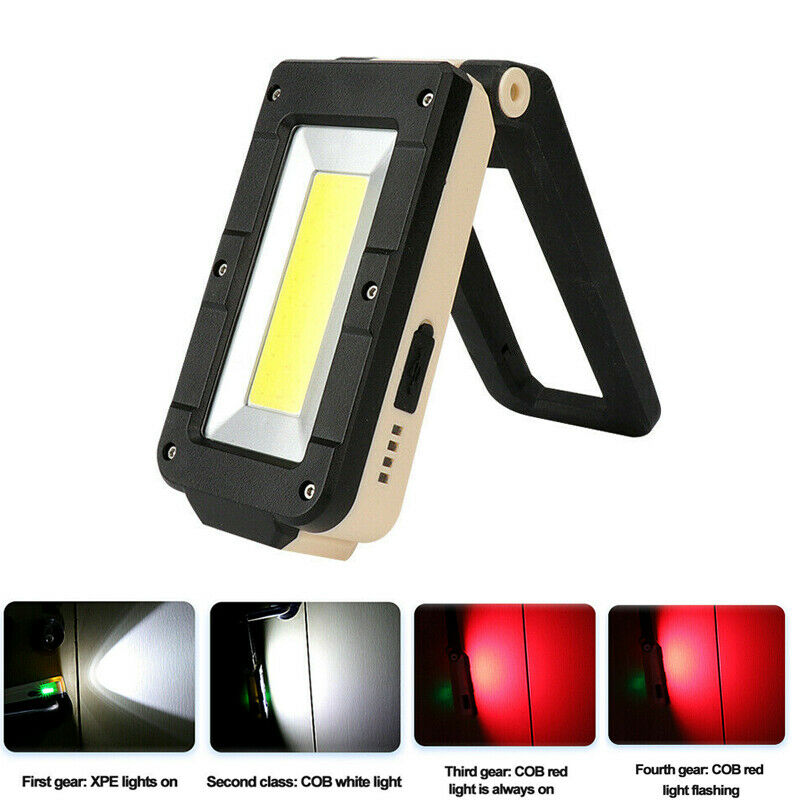 Truck SUV Car Camper Work Light Portable Rechargeable Magnetic COB LED Light Lamp Folding Inspection Torch