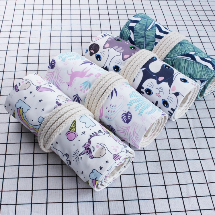 36/48/72 Slots Canvas Pencil Wrap Stationery Storage 4 Patterns Available Unicorn On White Cat Palm Leaf Cute Jungle Beast