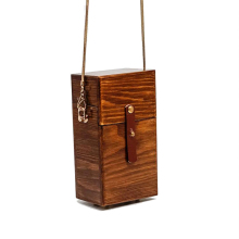 Vintage Wooden Box Women Shoulder Bags Designer Chains Crossbody Bag Luxury Rivet Evening Clutch Bag Lady Party Small Purse 2019