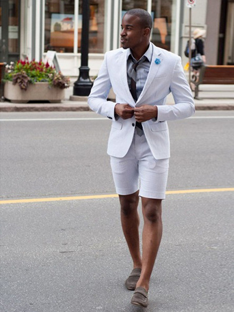 Best Offers 2020 New Elegant White Wedding Men Suit With Short Pants Fashion Business Terno Masculino Yong Mens Summer Wear Suits Set Carmovezicount