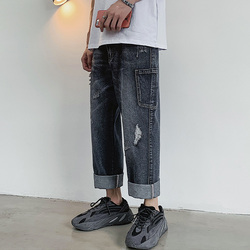 Hole Jeans Men Fashion Washed Casual Loose Straight Tooling Denim Pants Men Streetwear Hip Hop Jean Trousers Male Clothes