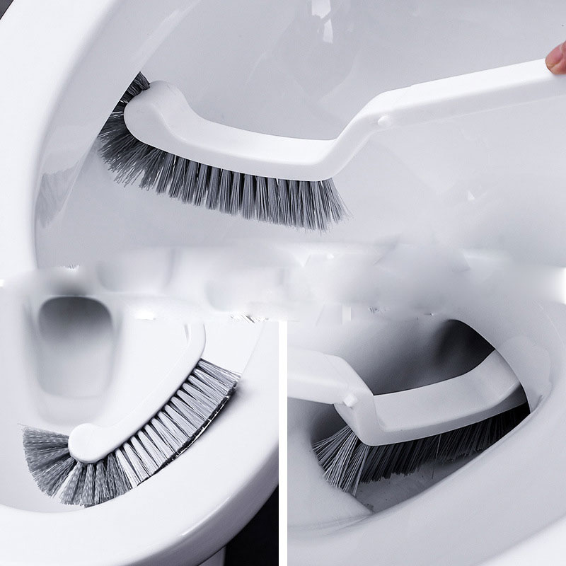 1PC Toilet Brush Dead Corner Cleaning Double Side Curved Plastic Brush Toilet Bathroom Long Handle Cleaning Brush