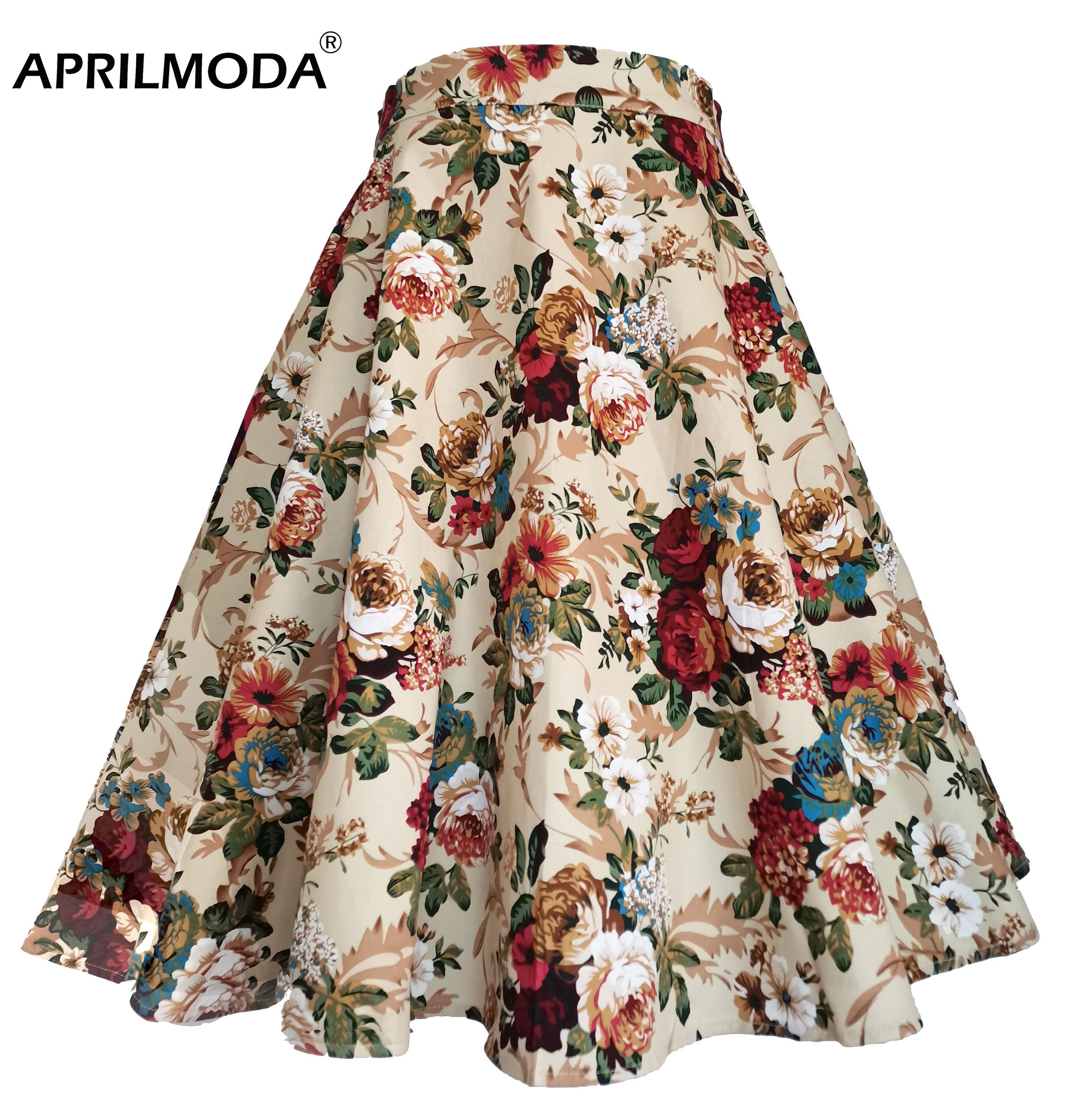 Хлопковые Плиссированные Миди юбки в клетку с высокой талией, этнический цветочный принт, женские черные Хепберн, 60s 50 s, винтажные