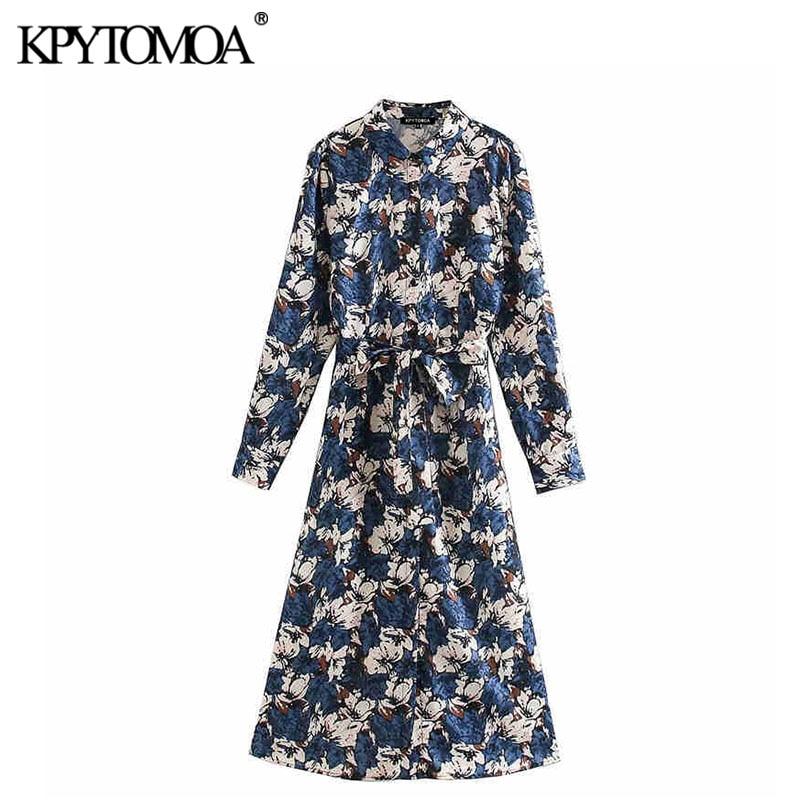 KPYTOMOA Women 2020 Elegant Fashion Floral Print Midi Shirt Dress Vintage Long Sleeve Bow Tie Sashes Female Dresses Vestidos