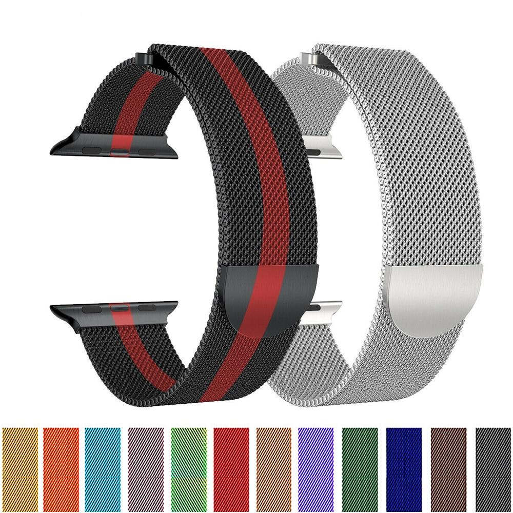 Milanese Loop Strap For Apple Watch 5 4 Band Iwatch Band 42mm 44mm 38mm 40mm Milanese Stainless Steel Metal Mesh Bracelet Belt