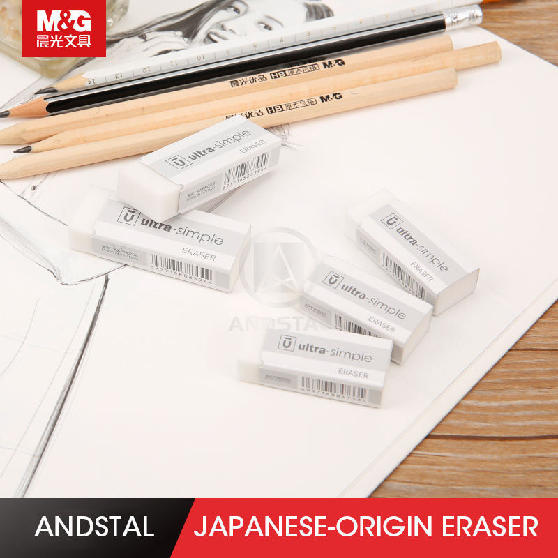 Andstal 10pcs/lot Premium Japan White Eraser M&G Kawaii Rubber Erasers Mini Pencil Eraser Gum Set For School Supplies Rubbers