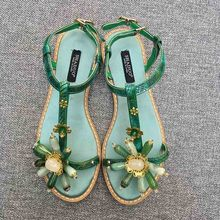 Sandals Rhinestone Flowers Beach-Flip-Flops Flat Genuine-Leather Women Lovestahl Stitching