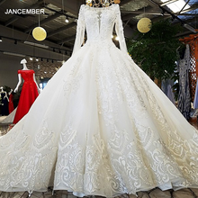 LS53710 ivory as the picture full sleeves o neck ball gown lace up back hand work wedding dresses vestido de noiva real photos