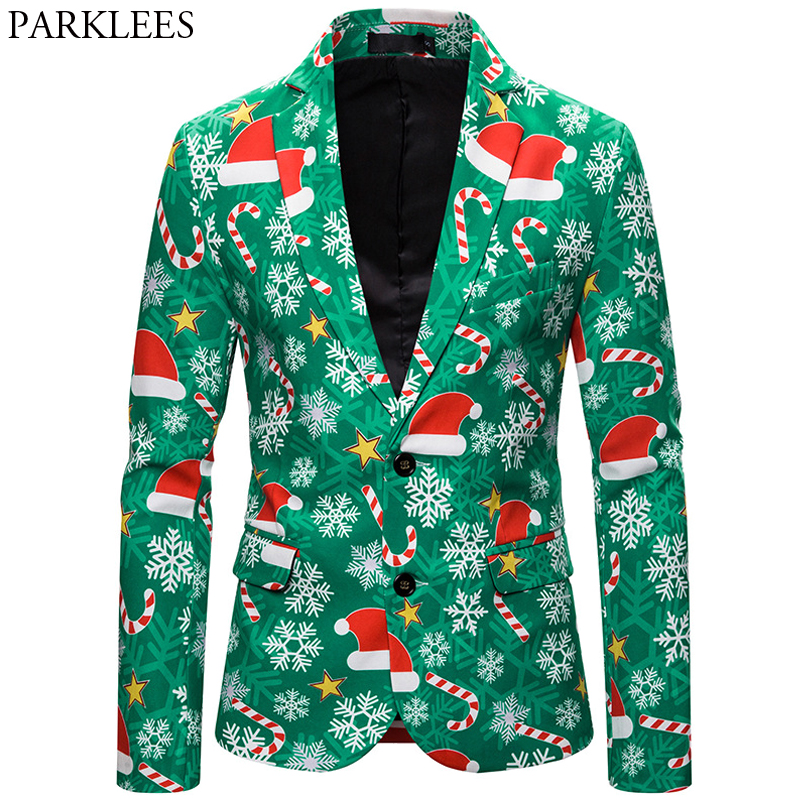 3D Christmas Blazer Men Christmas Hat Print Men Blazers Slim Fit Jacket Mens Christmas Costume Stylish Party Male Blazer Hombre