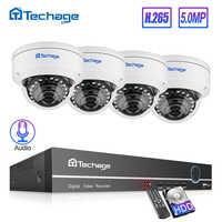 Kit de NVR POE HD Techage H.265 8CH 5MP sistema POE CCTV Audio micrófono Domo IP cámara interior P2P Video vigilancia de seguridad