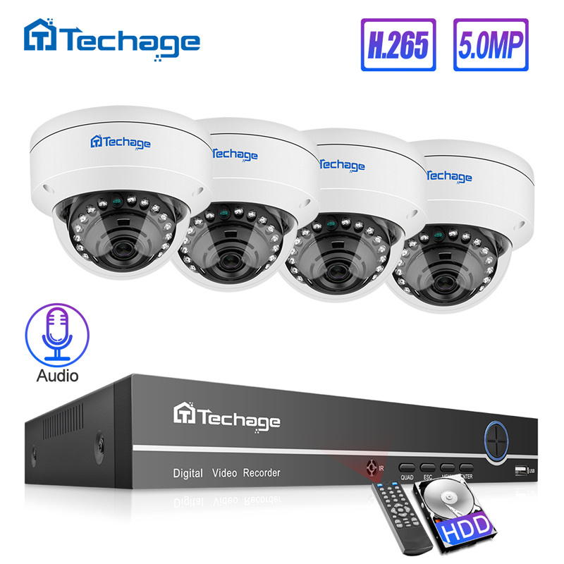 Techage H.265 8CH 5MP HD POE NVR Kit POE CCTV System Audio Microphone Dome IP Camera Indoor P2P Video Security Surveillance Set