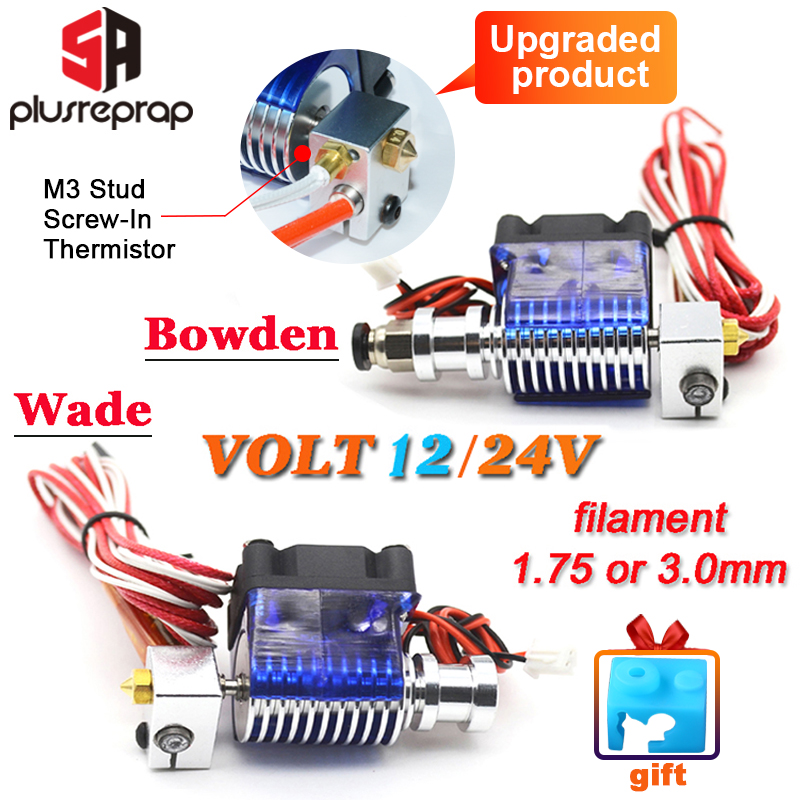 Upgraded V6 J-head Hotend Wade/Bowden Extruder With Heater M3 Screw-in Thermistor Nozzle Fan Heat Sink MK8 3D For Printer Parts