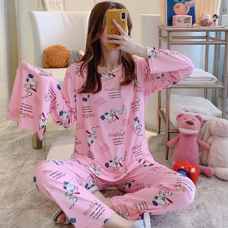 Snoopy Long Sleeve Cartoon Pajamas Set Pajamas Women Casual Round Neck Nightgowns Women's Home Wear Pajama