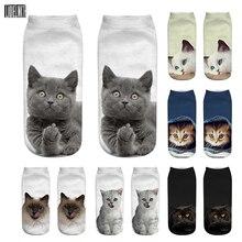 3D Print Funny Cute Cartoon Kitten Unisex Short Socks Creative Colorful Multiple Cat Face Happy Low Ankle Socks For Women